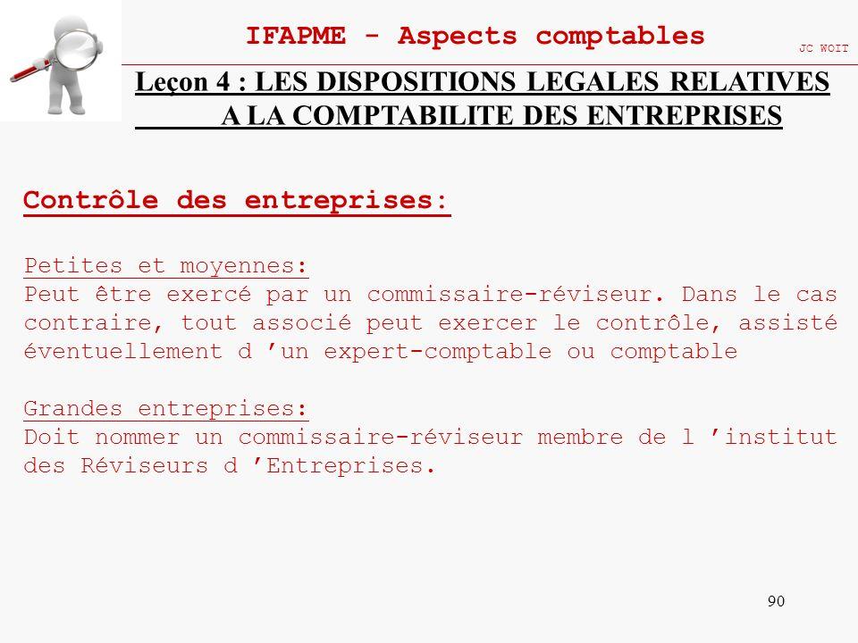 90 IFAPME - Aspects comptables JC WOIT Leçon 4 : LES DISPOSITIONS LEGALES RELATIVES A LA COMPTABILITE DES ENTREPRISES Contrôle des entreprises: Petite