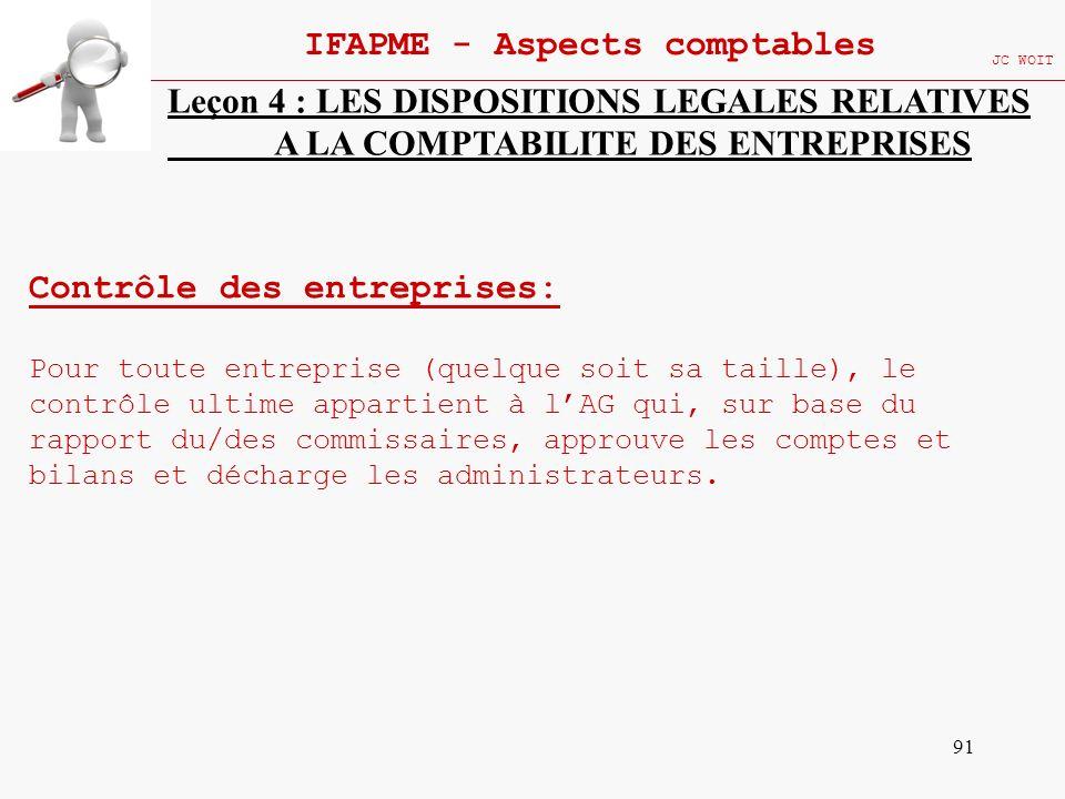 91 IFAPME - Aspects comptables JC WOIT Leçon 4 : LES DISPOSITIONS LEGALES RELATIVES A LA COMPTABILITE DES ENTREPRISES Contrôle des entreprises: Pour t