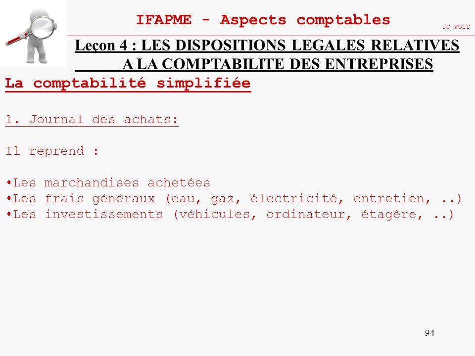 94 IFAPME - Aspects comptables JC WOIT Leçon 4 : LES DISPOSITIONS LEGALES RELATIVES A LA COMPTABILITE DES ENTREPRISES La comptabilité simplifiée 1. Jo
