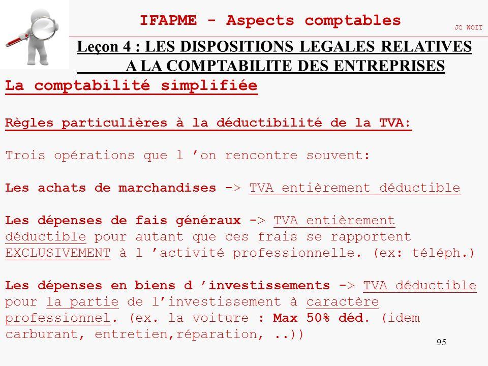 95 IFAPME - Aspects comptables JC WOIT Leçon 4 : LES DISPOSITIONS LEGALES RELATIVES A LA COMPTABILITE DES ENTREPRISES La comptabilité simplifiée Règle
