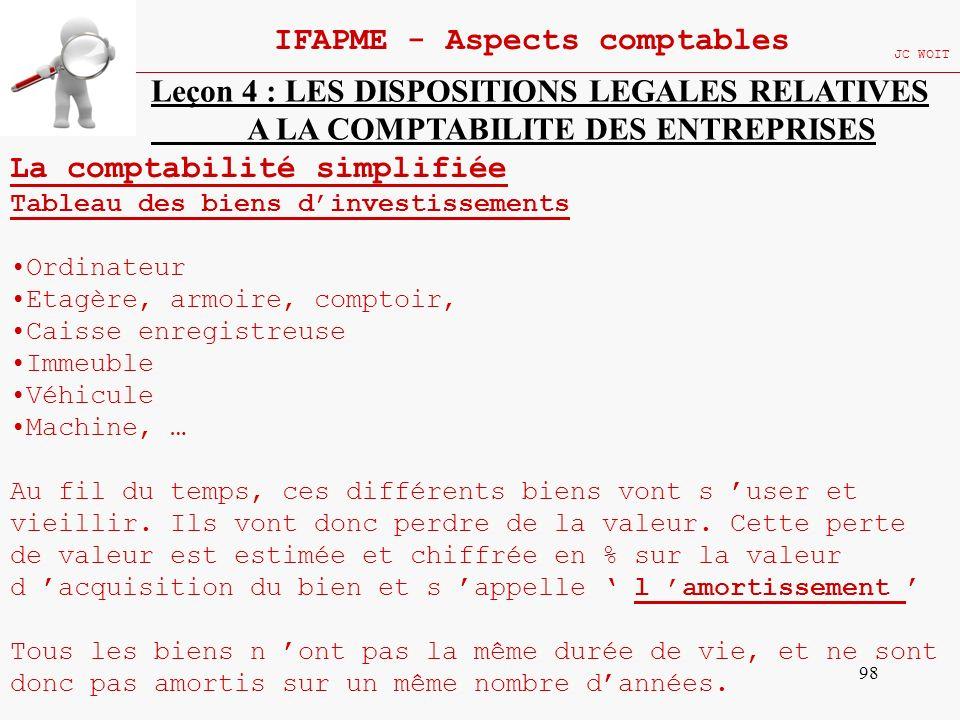 98 IFAPME - Aspects comptables JC WOIT Leçon 4 : LES DISPOSITIONS LEGALES RELATIVES A LA COMPTABILITE DES ENTREPRISES La comptabilité simplifiée Table