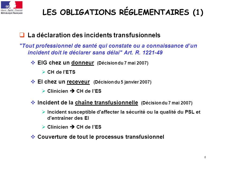 6 LES OBLIGATIONS RÉGLEMENTAIRES (1) La déclaration des incidents transfusionnels
