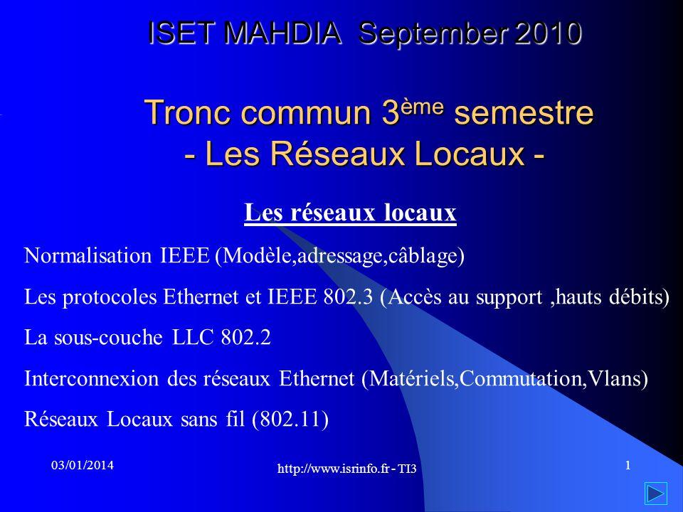 http://www.isrinfo.fr - TI3 103/01/2014 ISET MAHDIA September 2010 Tronc commun 3 ème semestre - Les Réseaux Locaux - Les réseaux locaux Normalisation