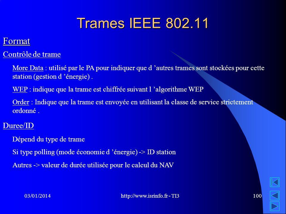 http://www.isrinfo.fr - TI3 03/01/2014100 Trames IEEE 802.11 Format Contrôle de trame More Data : utilisé par le PA pour indiquer que d autres trames