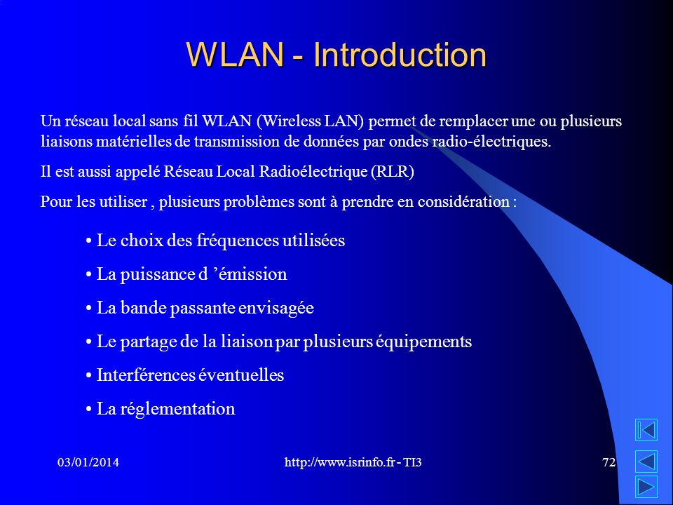 http://www.isrinfo.fr - TI3 03/01/201472 WLAN - Introduction Un réseau local sans fil WLAN (Wireless LAN) permet de remplacer une ou plusieurs liaison