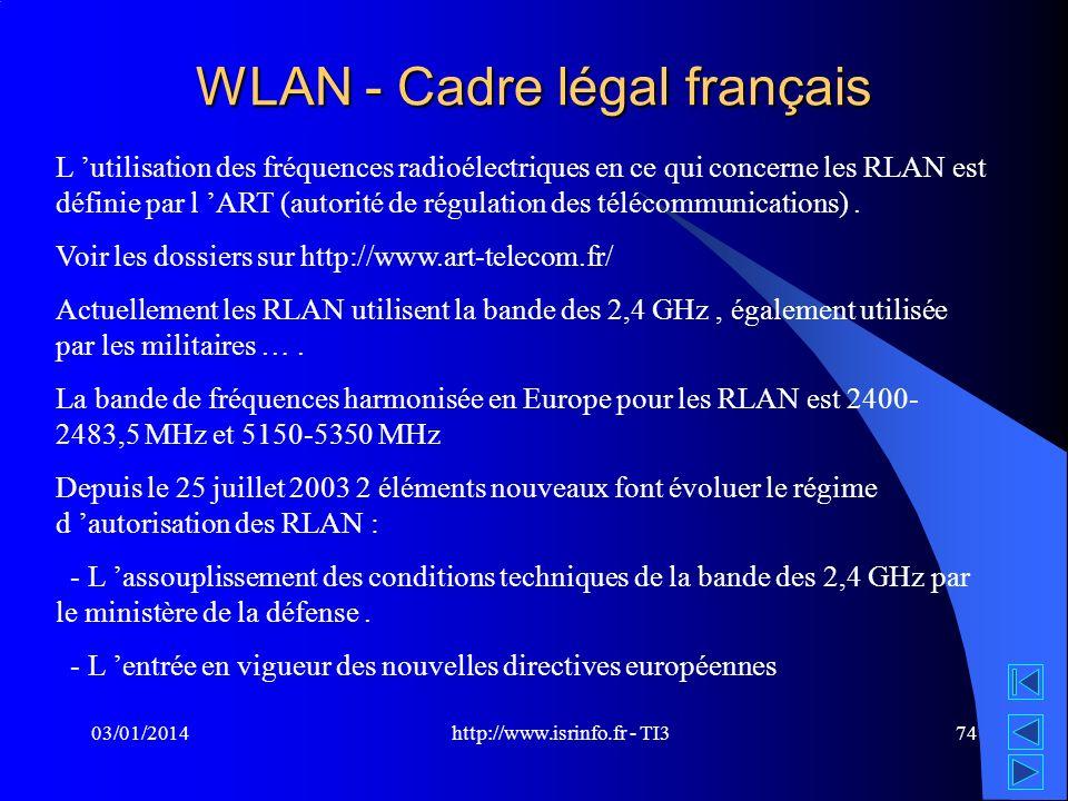 http://www.isrinfo.fr - TI3 03/01/201474 WLAN - Cadre légal français L utilisation des fréquences radioélectriques en ce qui concerne les RLAN est déf