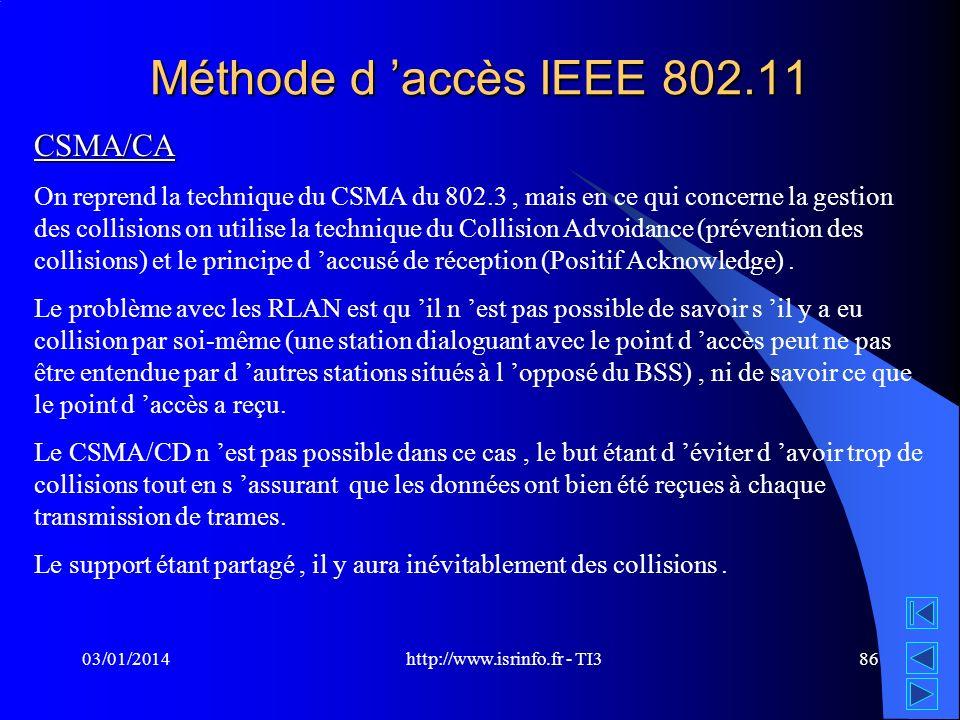 http://www.isrinfo.fr - TI3 03/01/201486 Méthode d accès IEEE 802.11 CSMA/CA On reprend la technique du CSMA du 802.3, mais en ce qui concerne la gest
