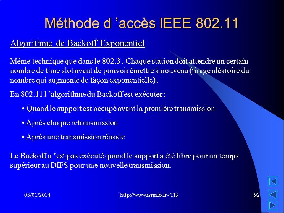 http://www.isrinfo.fr - TI3 03/01/201492 Méthode d accès IEEE 802.11 Algorithme de Backoff Exponentiel Même technique que dans le 802.3. Chaque statio