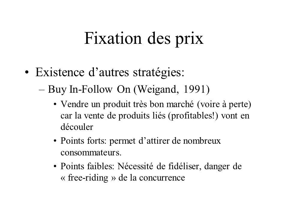 Fixation des prix Existence dautres stratégies: –Buy In-Follow On (Weigand, 1991) Vendre un produit très bon marché (voire à perte) car la vente de pr