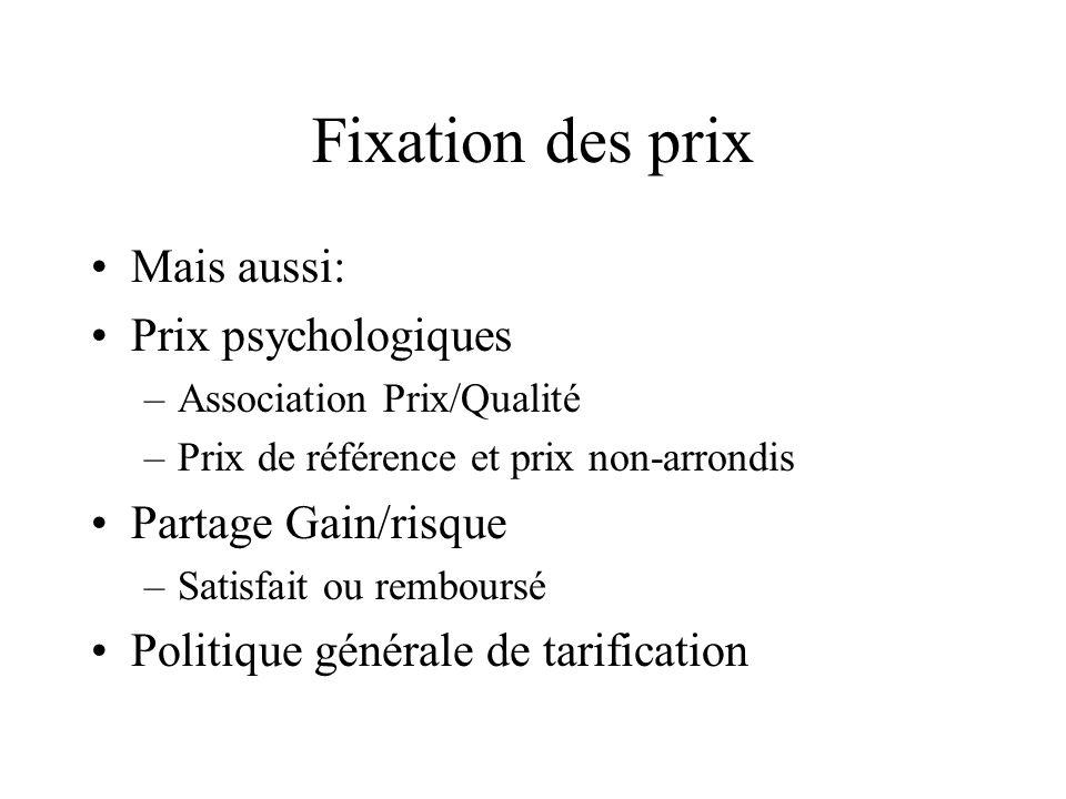 Fixation des prix Mais aussi: Prix psychologiques –Association Prix/Qualité –Prix de référence et prix non-arrondis Partage Gain/risque –Satisfait ou