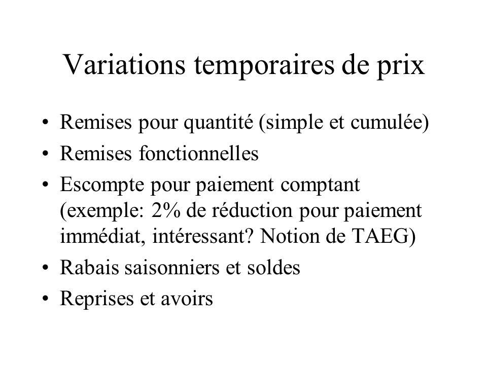 Variations temporaires de prix Remises pour quantité (simple et cumulée) Remises fonctionnelles Escompte pour paiement comptant (exemple: 2% de réduct