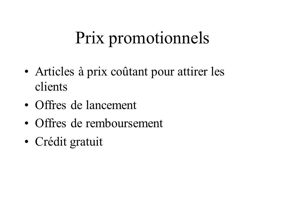 Prix promotionnels Articles à prix coûtant pour attirer les clients Offres de lancement Offres de remboursement Crédit gratuit