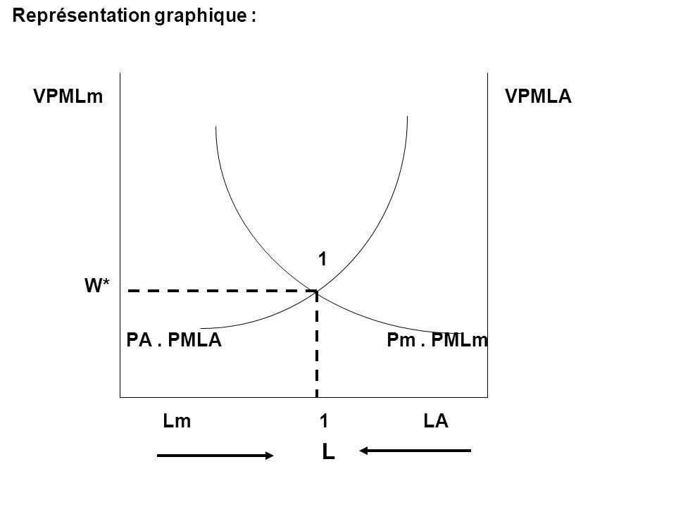 Représentation graphique : VPMLm VPMLA 1 W* PA. PMLA Pm. PMLm Lm 1 LA L