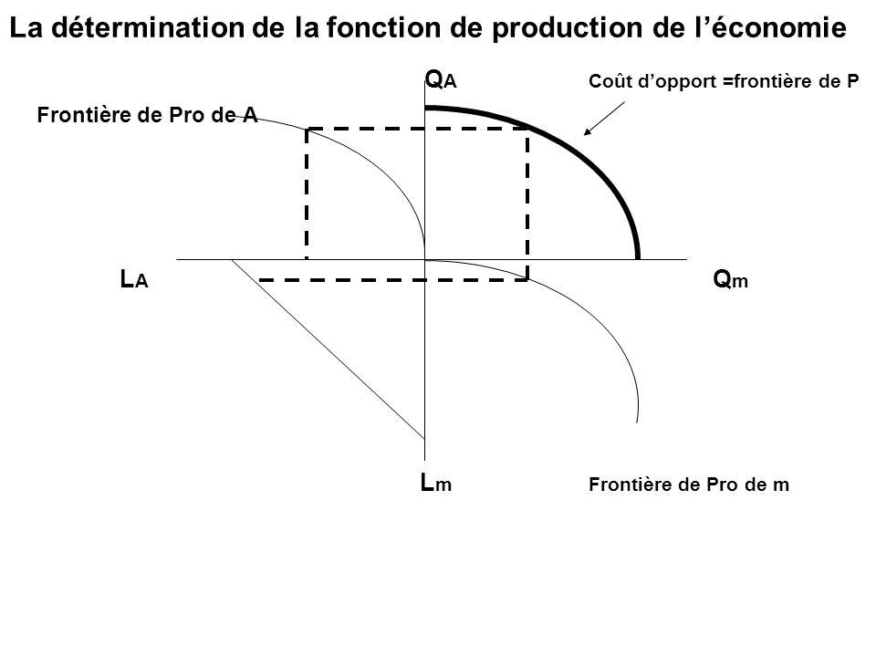 La détermination de la fonction de production de léconomie Q A Coût dopport =frontière de P Frontière de Pro de A L A Q m L m Frontière de Pro de m