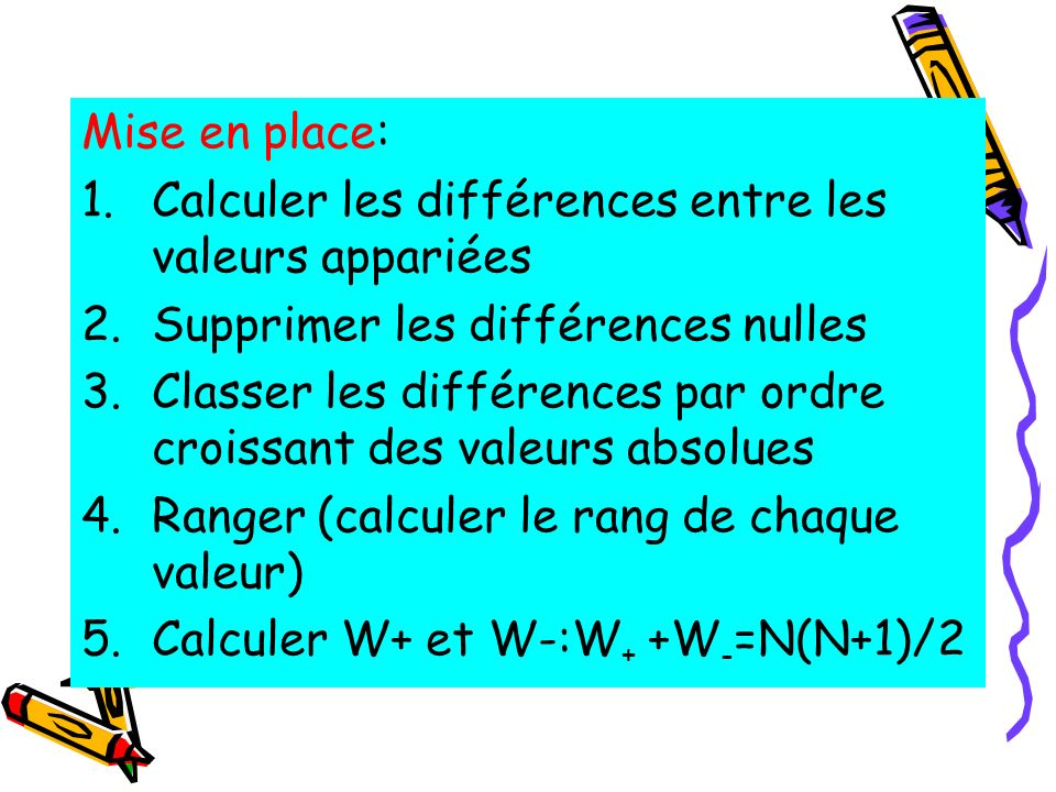 Mise en place: 1.Calculer les différences entre les valeurs appariées 2.Supprimer les différences nulles 3.Classer les différences par ordre croissant