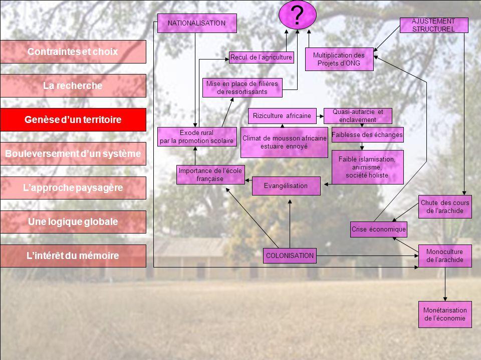 Contraintes et choix La recherche Genèse dun territoire Bouleversement dun système Lapproche paysagère Une logique globale Lintérêt du mémoire Climat