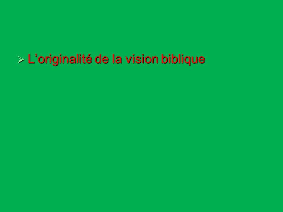 Loriginalité de la vision biblique Loriginalité de la vision biblique La remise en cause de lépoque moderne La remise en cause de lépoque moderne Les