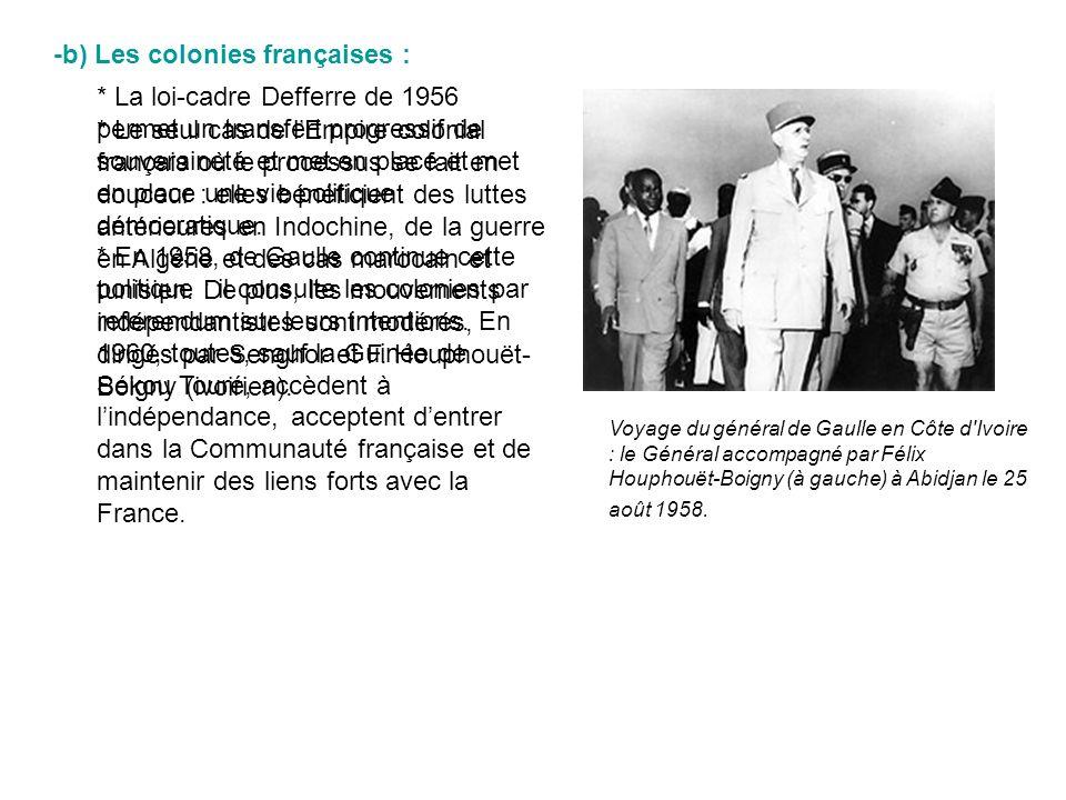 * Lindépendance du Congo belge se fait de façon chaotique : le pays devient libre en 1960 mais est aussitôt livré à des luttes ethniques qui entraînent une guerre civile (1961-65) entre la riche province minière du Katanga et les autres régions, conclue par la prise du pouvoir par larmée du général Mobutu.