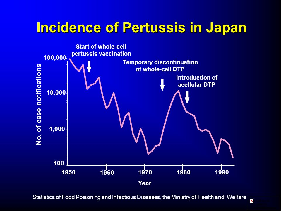 Incidence of Pertussis in Japan No. of case notifications Start of whole-cell pertussis vaccination Temporary discontinuation of whole-cell DTP Introd