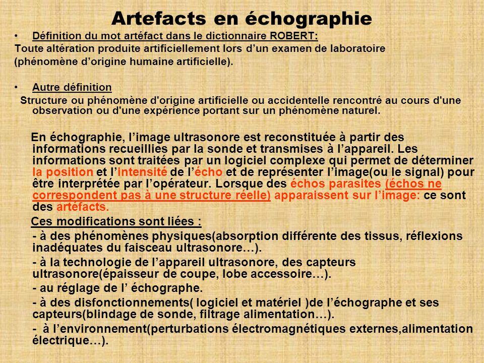 Artefacts en échographie Définition du mot artéfact dans le dictionnaire ROBERT: Toute altération produite artificiellement lors dun examen de laborat