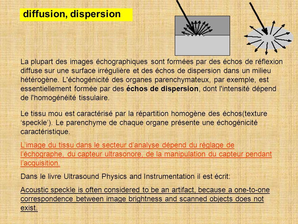diffusion, dispersion La plupart des images échographiques sont formées par des échos de réflexion diffuse sur une surface irrégulière et des échos de