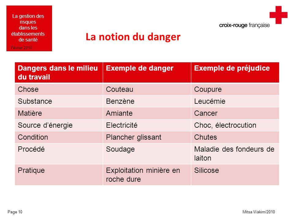 Mitsa Wakim/2010 La gestion des risques dans les établissements de santé Février 2010 La notion du danger Dangers dans le milieu du travail Exemple de