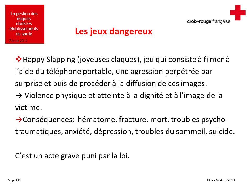 Mitsa Wakim/2010 La gestion des risques dans les établissements de santé Février 2010 Les jeux dangereux Happy Slapping (joyeuses claques), jeu qui co