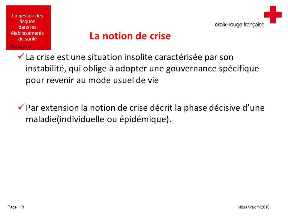Mitsa Wakim/2010 La gestion des risques dans les établissements de santé Février 2010 La notion de crise La crise est une situation insolite caractéri