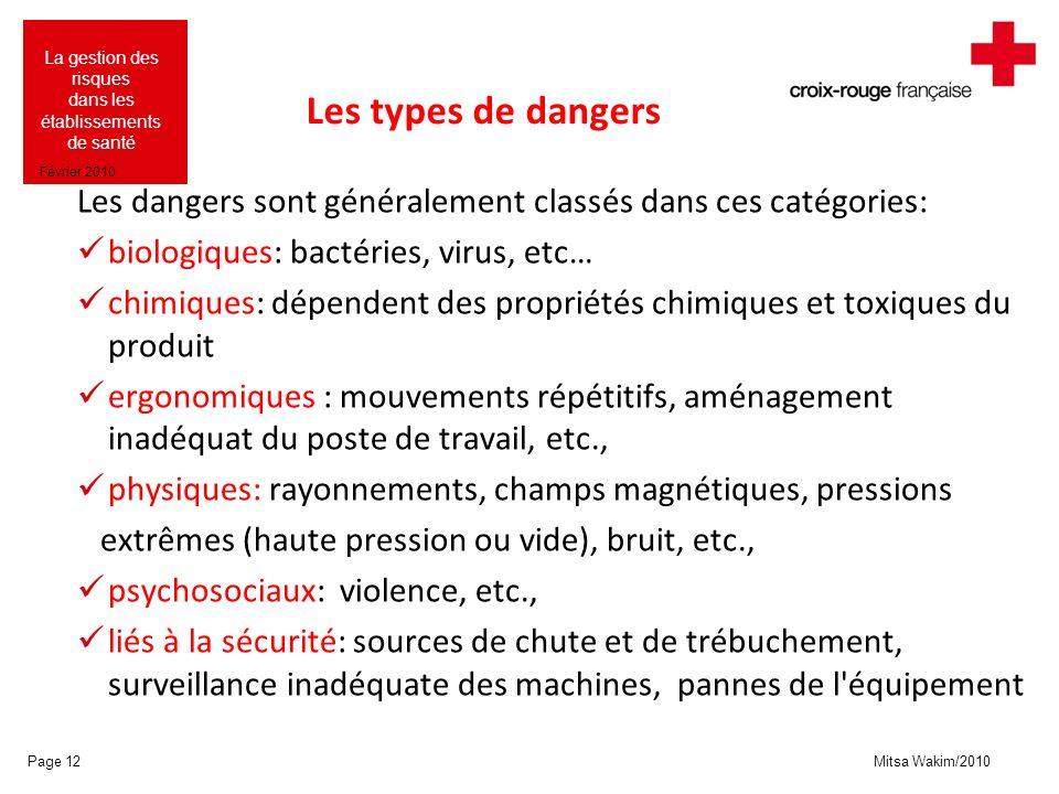 Mitsa Wakim/2010 La gestion des risques dans les établissements de santé Février 2010 Les types de dangers Les dangers sont généralement classés dans