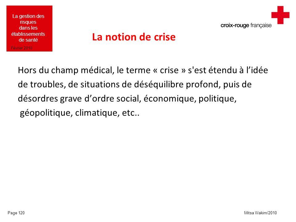 Mitsa Wakim/2010 La gestion des risques dans les établissements de santé Février 2010 La notion de crise Hors du champ médical, le terme « crise » s'e