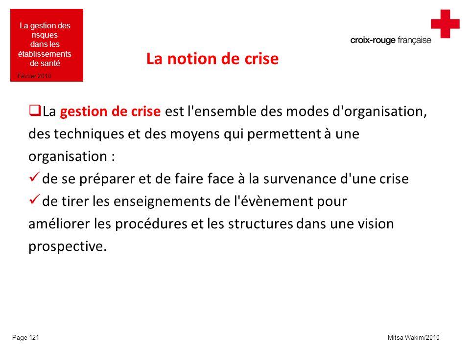 Mitsa Wakim/2010 La gestion des risques dans les établissements de santé Février 2010 La notion de crise La gestion de crise est l'ensemble des modes