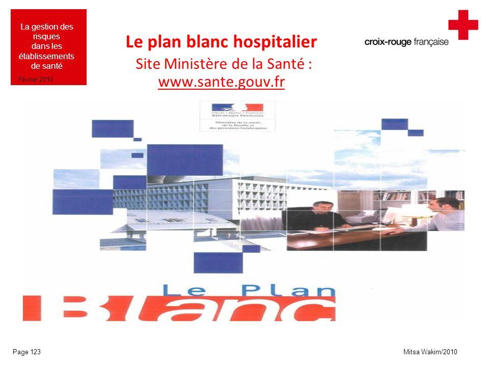 Mitsa Wakim/2010 La gestion des risques dans les établissements de santé Février 2010 Le plan blanc hospitalier Site Ministère de la Santé : www.sante