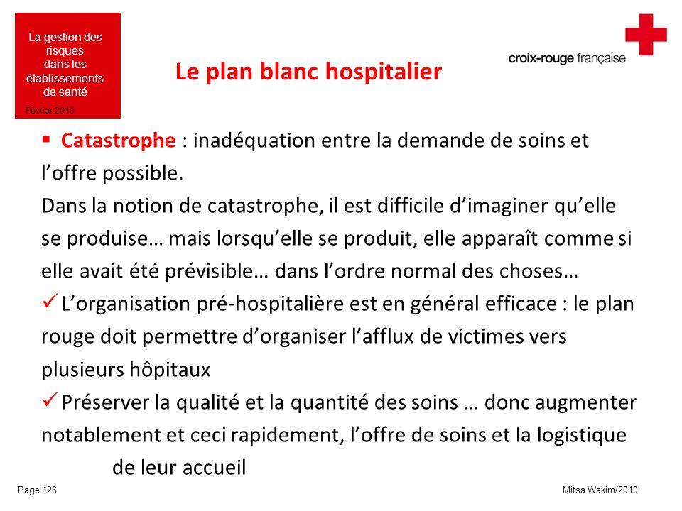 Mitsa Wakim/2010 La gestion des risques dans les établissements de santé Février 2010 Le plan blanc hospitalier Catastrophe : inadéquation entre la de