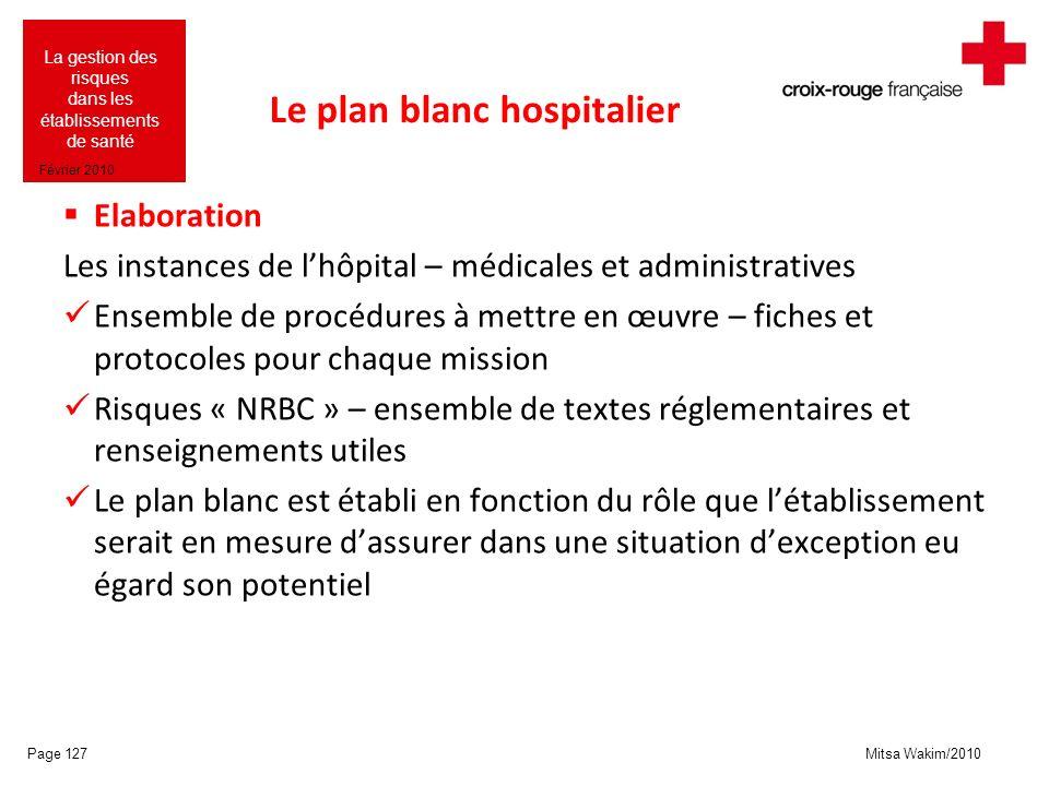 Mitsa Wakim/2010 La gestion des risques dans les établissements de santé Février 2010 Le plan blanc hospitalier Elaboration Les instances de lhôpital