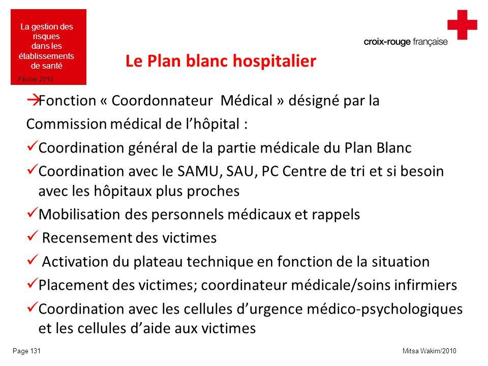 Mitsa Wakim/2010 La gestion des risques dans les établissements de santé Février 2010 Le Plan blanc hospitalier Fonction « Coordonnateur Médical » dés