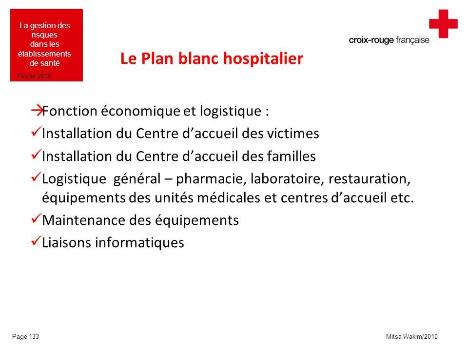 Mitsa Wakim/2010 La gestion des risques dans les établissements de santé Février 2010 Le Plan blanc hospitalier Fonction économique et logistique : In