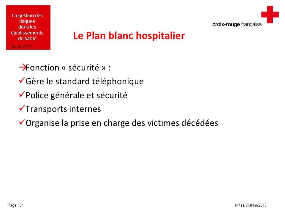 Mitsa Wakim/2010 La gestion des risques dans les établissements de santé Février 2010 Le Plan blanc hospitalier Fonction « sécurité » : Gère le standa
