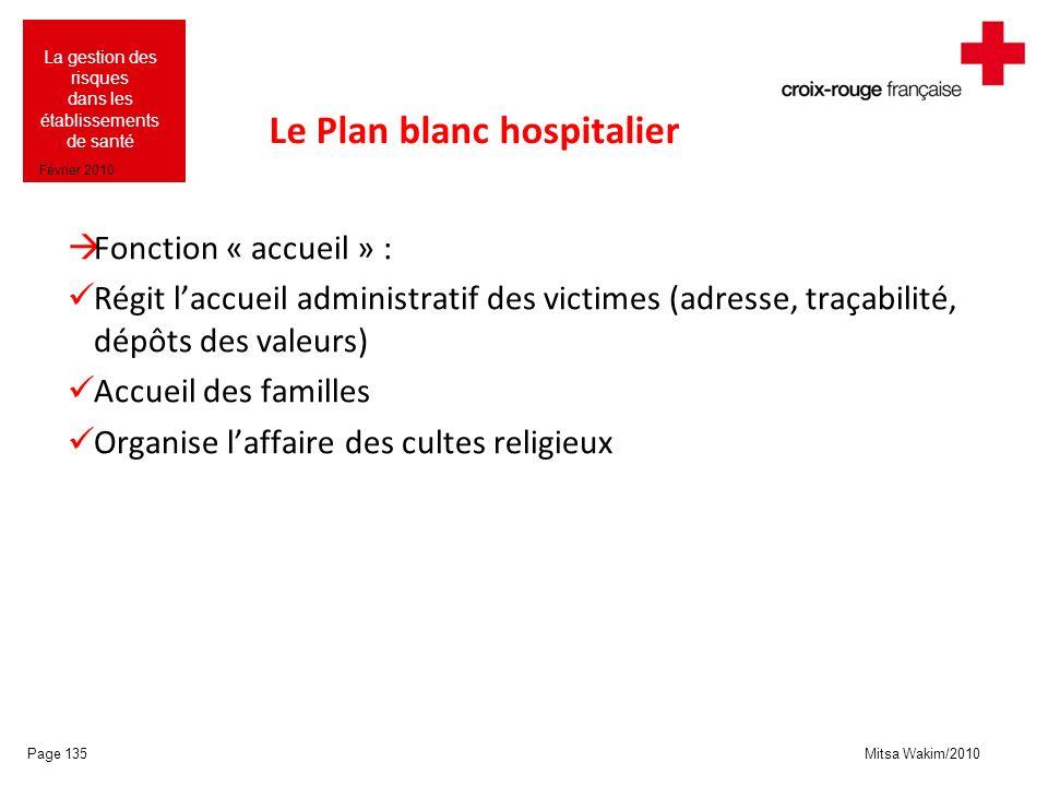 Mitsa Wakim/2010 La gestion des risques dans les établissements de santé Février 2010 Le Plan blanc hospitalier Fonction « accueil » : Régit laccueil