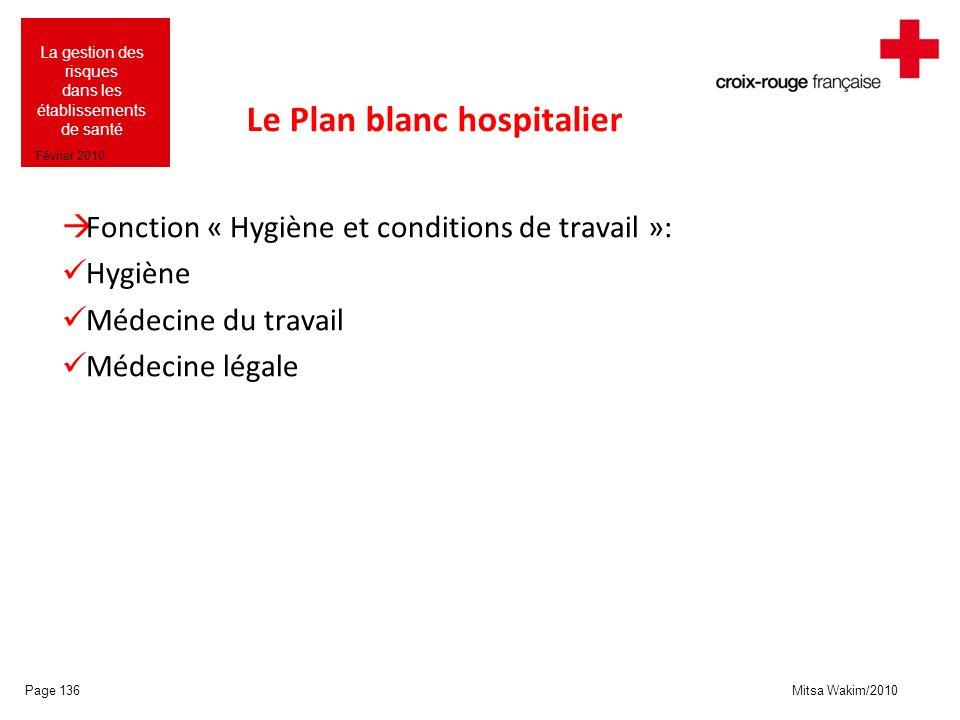 Mitsa Wakim/2010 La gestion des risques dans les établissements de santé Février 2010 Le Plan blanc hospitalier Fonction « Hygiène et conditions de tr