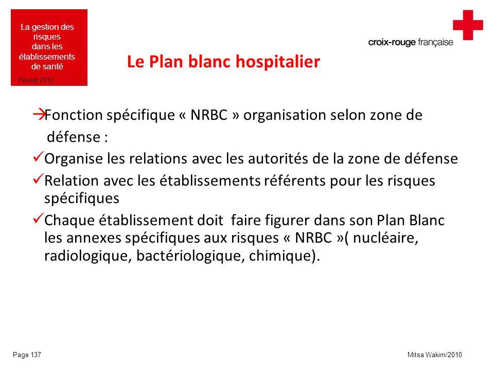 Mitsa Wakim/2010 La gestion des risques dans les établissements de santé Février 2010 Le Plan blanc hospitalier Fonction spécifique « NRBC » organisat