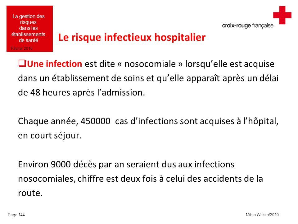 Mitsa Wakim/2010 La gestion des risques dans les établissements de santé Février 2010 Le risque infectieux hospitalier Une infection est dite « nosoco