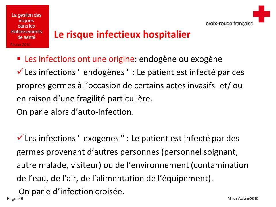 Mitsa Wakim/2010 La gestion des risques dans les établissements de santé Février 2010 Le risque infectieux hospitalier Les infections ont une origine:
