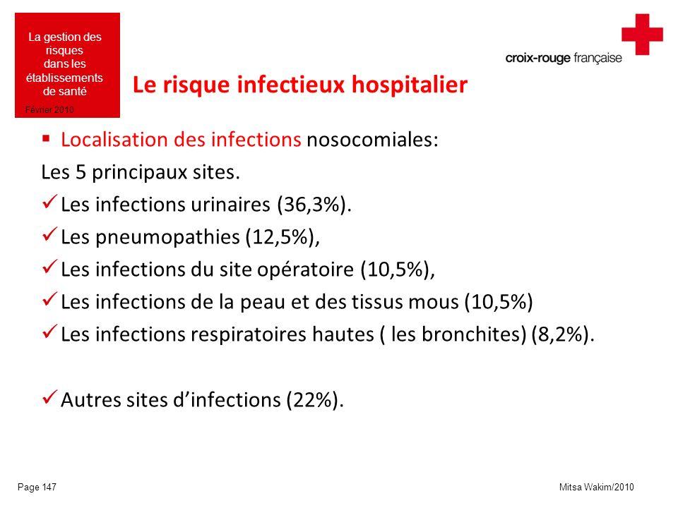 Mitsa Wakim/2010 La gestion des risques dans les établissements de santé Février 2010 Le risque infectieux hospitalier Localisation des infections nos