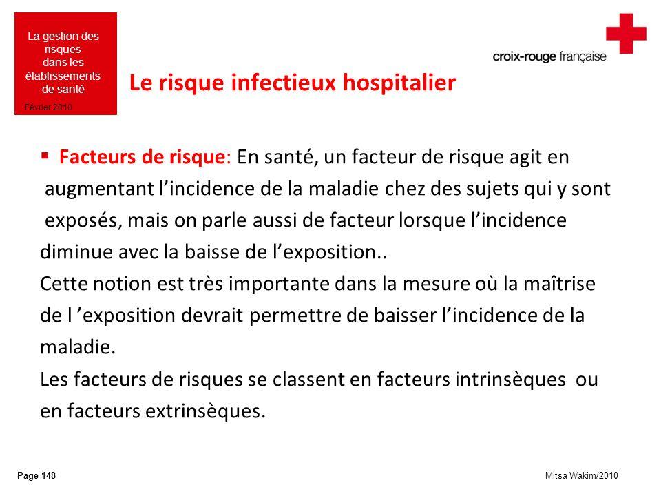 Mitsa Wakim/2010 La gestion des risques dans les établissements de santé Février 2010 Le risque infectieux hospitalier Facteurs de risque: En santé, u