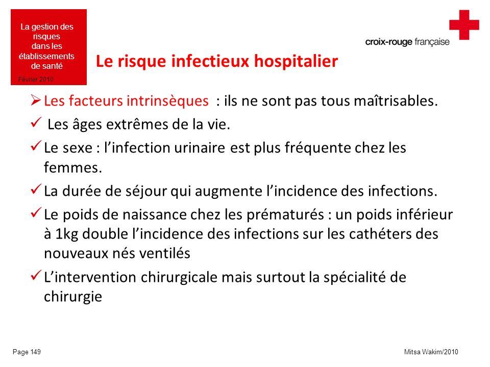 Mitsa Wakim/2010 La gestion des risques dans les établissements de santé Février 2010 Le risque infectieux hospitalier Les facteurs intrinsèques : ils