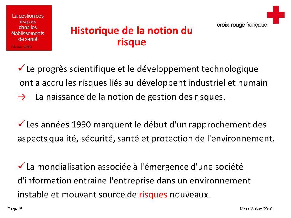 Mitsa Wakim/2010 La gestion des risques dans les établissements de santé Février 2010 Historique de la notion du risque Le progrès scientifique et le