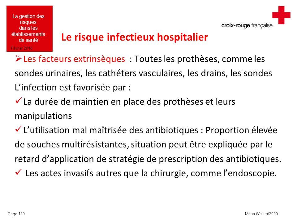 Mitsa Wakim/2010 La gestion des risques dans les établissements de santé Février 2010 Le risque infectieux hospitalier Les facteurs extrinsèques : Tou