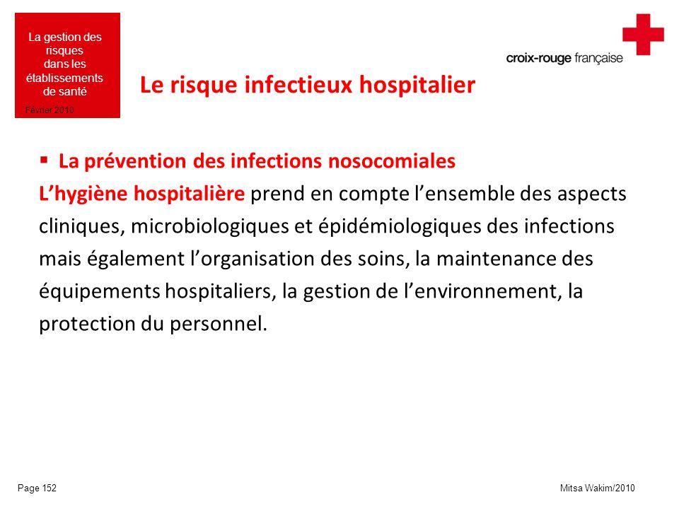 Mitsa Wakim/2010 La gestion des risques dans les établissements de santé Février 2010 Le risque infectieux hospitalier La prévention des infections no