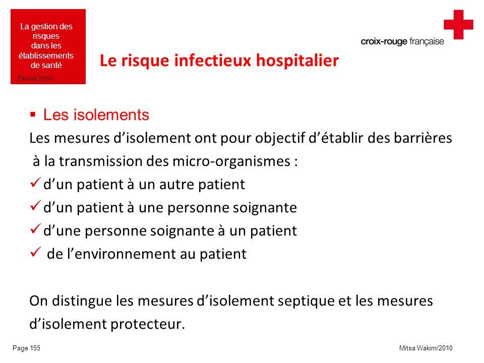 Mitsa Wakim/2010 La gestion des risques dans les établissements de santé Février 2010 Le risque infectieux hospitalier Les isolements Les mesures diso