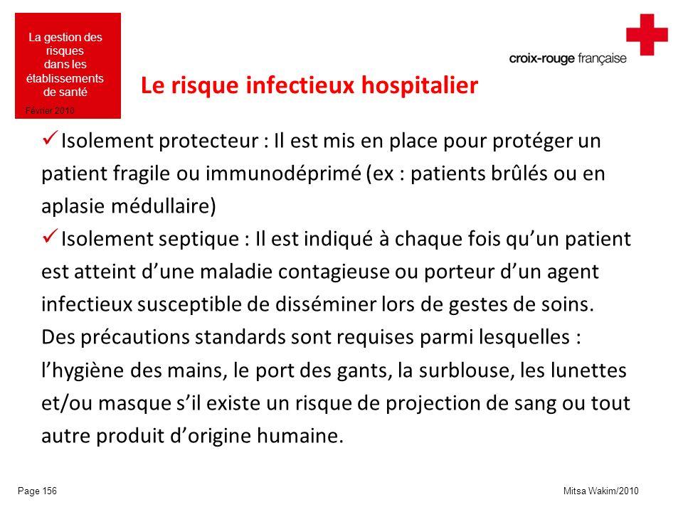Mitsa Wakim/2010 La gestion des risques dans les établissements de santé Février 2010 Le risque infectieux hospitalier Isolement protecteur : Il est m